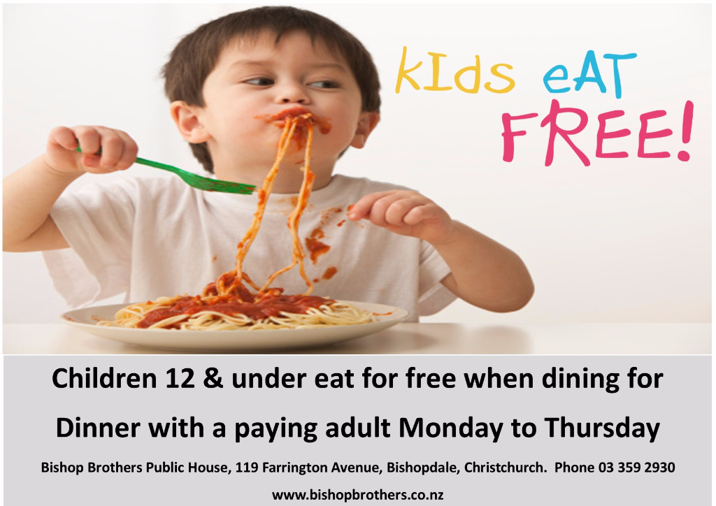 When All Kids Eat For Free >> Kids Eat For Free Bishop Brothers Public House